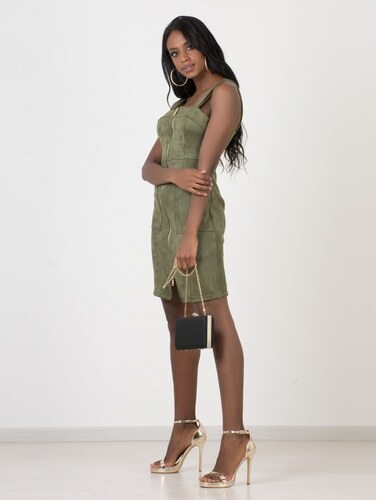 c4a13873f884 DeCoro F7143 Φόρεμα Suede με Φερμουάρ - ΧΑΚΙ 16624 - Glami.gr