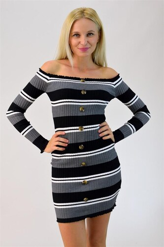 42d53df9c800 Potre Φόρεμα ριπ ριγέ με κουμπιά - Glami.gr