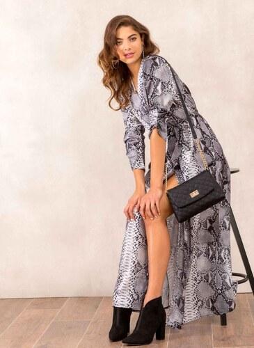 f994e81372be The Fashion Project Maxi σατέν κρουαζέ φόρεμα με snake pattern - Γκρι - 001