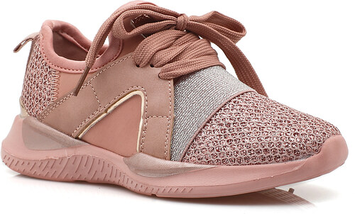 c4241de1c39 Bozikis Παιδικά υφασμάτινα sneakers με glitter και κορδόνια 607 ΡΟΖ ...