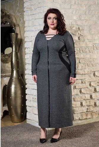 9be8ca17252 Ζεστό χειμωνιάτικο φόρεμα με γιακά τύπου σάλι που αφαιρείται σε γκρι ...