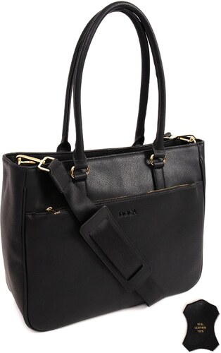 435e43ad13 DOCA Καθημερινή δερμάτινη τσάντα μαύρη (14421) - Glami.gr