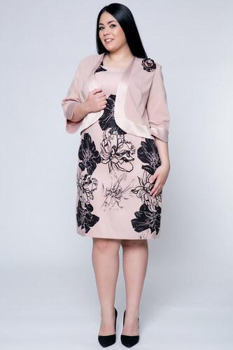 Happysizes Φόρεμα midi με λουλούδια και σακάκι μπεζ - Glami.gr f5a1c36d693