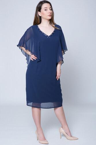 d9939fa84a09 Happysizes Midi μπλε φόρεμα με χάντρες στη λαιμόκοψη - Glami.gr