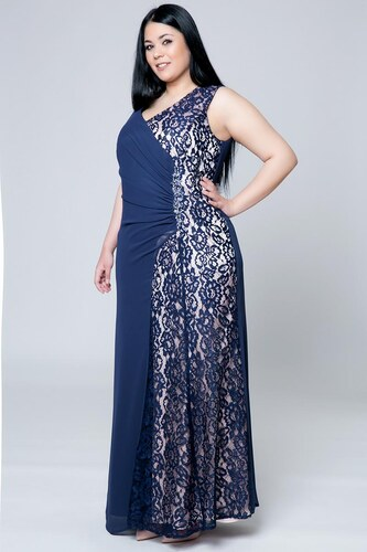 2547b4a1ae33 Happysizes Φόρεμα maxi με δαντέλα και στρας μπλε πούδρα - Glami.gr