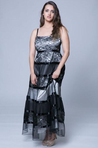 74cae1d17183 Happysizes Φόρεμα maxi με δαντέλα και τούλι σε μαύρο εκρού χρώμα ...