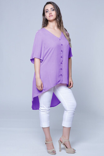 262cb6d49aea -35% Happysizes Αέρινη πουκαμίσα με κουμπιά και κοντό μανίκι με βολάν
