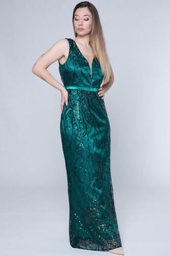 ac692f3d14ce Happysizes Maxi φόρεμα με κλαδιά παγέτας σε χρώμα πράσινο - Glami.gr