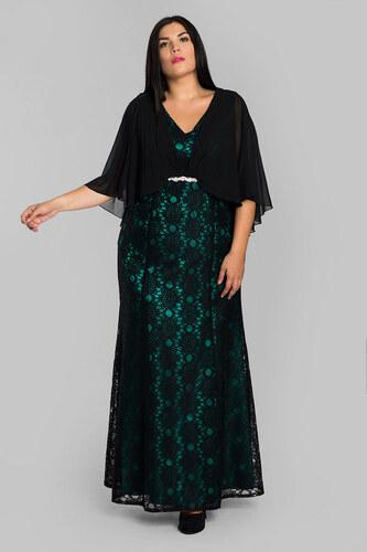 544be2dc3cfa Happysizes Maxi μαύρο πράσινο φόρεμα με δαντέλα - Glami.gr