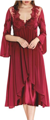 FMS Γυναικείο Σετ Ρόμπα-Νυχτικό - Σατέν 955 Μπορντό - Glami.gr 505b2052bf5