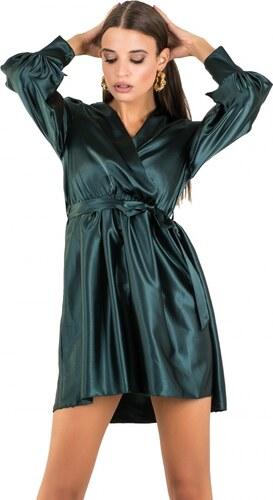 06b86227a9aa DeCoro F3824 Φόρεμα Satin κρουαζέ με ζωνάκι - ΚΥΠΑΡΙΣΣΙ - 10 - Glami.gr
