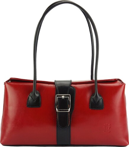 0a6dbd208b Δερμάτινη Τσάντα Χειρός Erminia Firenze Leather 217 Κόκκινο Μαύρο ...