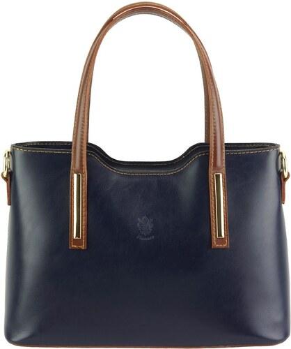 Δερμάτινη Τσάντα Χειρός Emily Firenze Leather 219 Σκουρο Μπλε Καφε ... c98b70dfaff