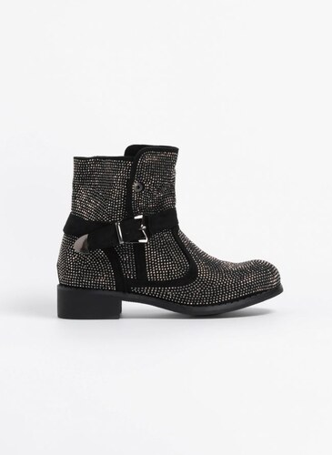 1e3752aa634 The Fashion Project Suede μποτάκια με strass - Μαύρο - 05819002002 ...