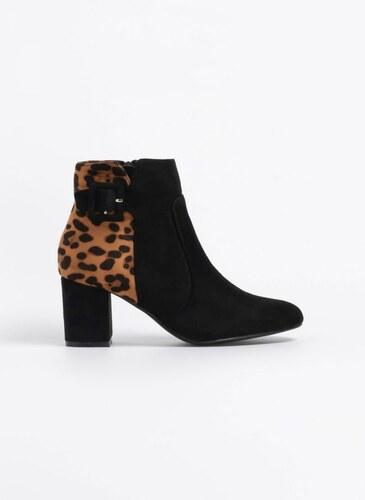 The Fashion Project Suede μποτάκια με leopard λεπτομέρεια - Μαύρο -  05802002005 e2a41fa6cb8