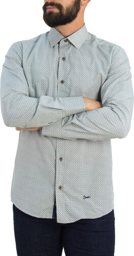 -30% Ανδρικό μπεζ πουκάμισο με μπλε γεωμετρικά σχέδια Ben Tailor 0084 9051a9efbd6