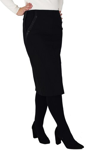 Vagias Midi μαύρη φούστα με δερματίνη και κουμπιά - Glami.gr 3c51fe8c585