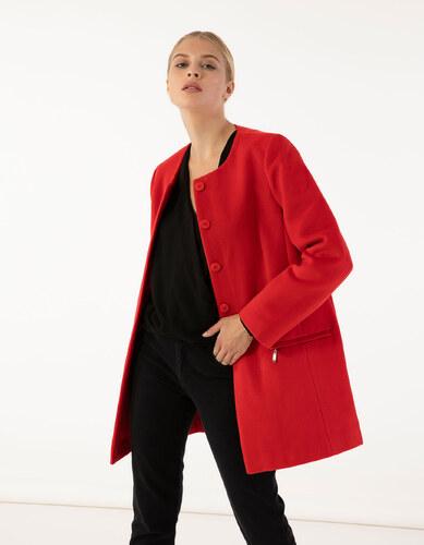e4e7d92d2e Issue Fashion Παλτό χωρίς γιακά με τσέπες μπροστά που κλείνουν με φερμουάρ