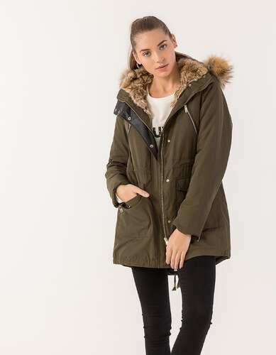 62b4c80ed306 Issue Fashion Μπουφάν παρκά με επένδυση γούνας και κουκούλα που αφαιρείται