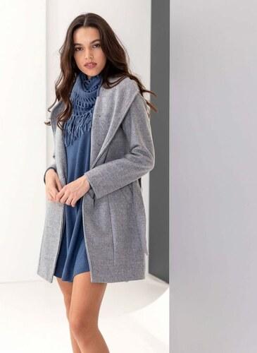 The Fashion Project Παλτό μεσάτο με λοξό κούμπωμα - Γκρι - 05904038001 ae64267b640