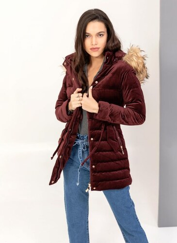 The Fashion Project Βελουτέ καπιτονέ μεσάτο μπουφάν - Μπορντό - 007 ... ad95ab4c18f