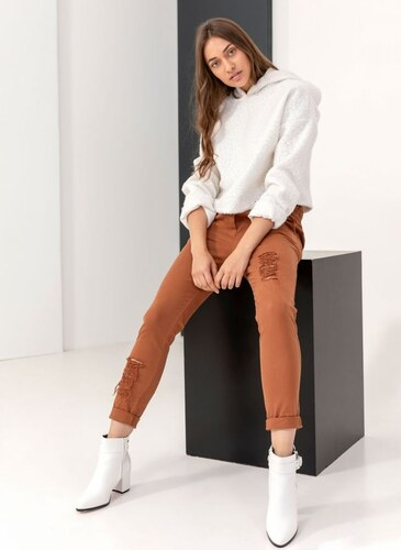 98c4ffe7119 The Fashion Project Ψηλόμεσο παντελόνι με λάστιχο και σκισίματα - Καφέ -  05859036004