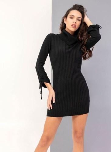 -50% The Fashion Project Ριπ πλεκτό εφαρμοστό φόρεμα με ζιβάγκο - Μαύρο -  05897002013 e8a419c92e0