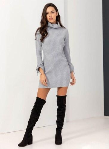 -50% The Fashion Project Ριπ πλεκτό εφαρμοστό φόρεμα με ζιβάγκο - Γκρι -  05897027013 25bbec11b66