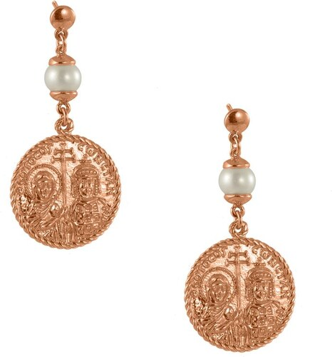 AMOR AMOR Σκουλαρίκια Από Ασήμι 925 Ροζ Επιχρυσωμένο Με Φλουρί  Κωνσταντινάτο ΚΟ49825 82eb3fef28b