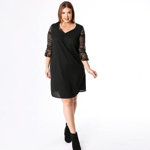LOVEDROBE Μονόχρωμο φόρεμα με V και μανίκια 3 4 - Glami.gr 9e164a62e28