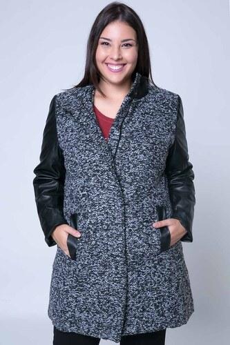 -51% Happysizes Ημίπαλτο μπουκλέ με leather-like μανίκια σε γκρι χρώμα 667cc17b81d