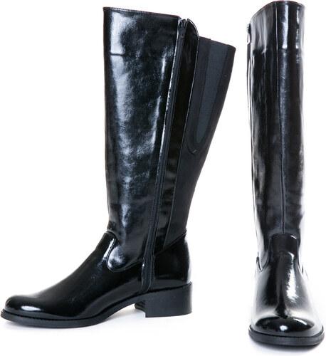 b0ce8f14b8c -13% Happysizes Μαύρη ίσια μπότα ιππασίας λουστρίνι με φαρδιά γάμπα
