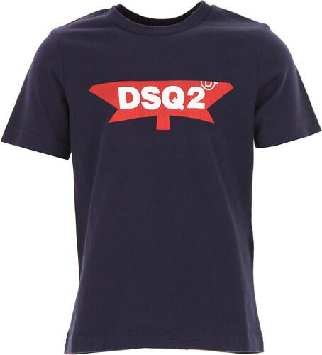 2242d541fe0b Dsquared2 Παιδικά Αγορίστικα Μπλουζάκια Σε Έκπτωση Στο Outlet, Μπλε, Κοτόν,  2019, 4Y