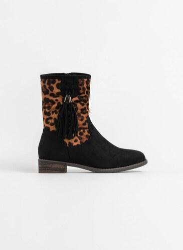 -78% The Fashion Project Μποτάκια με leopard λεπτομέρεια και κρόσσια - Μαύρο  - 05927002002 b02414feae2