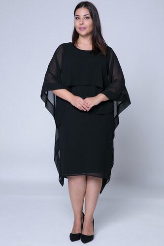 88f1636a01ee Happysizes Midi μαύρο φόρεμα με ενσωματωμένη τουνίκ - Glami.gr