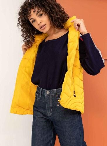 4b5da422d6dc The Fashion Project Αμάνικο καπιτονέ μπουφάν με κουκούλα - Κίτρινο -  05847015004