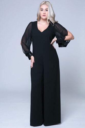 5153bcb7617c Happysizes Ολόσωμη μαύρη φόρμα με διαφανή μανίκια - Glami.gr