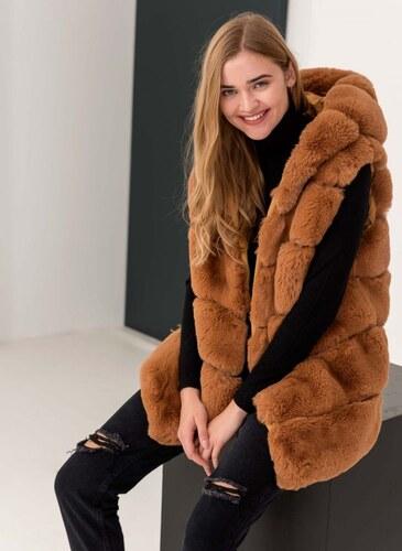 85161d828ea7 The Fashion Project Αμάνικο jacket από οικολογική γούνα - Caramel -  05983042010