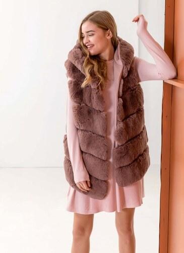 ec0acac198b1 The Fashion Project Αμάνικο jacket από οικολογική γούνα - Nude - 05983004010