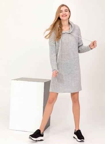 3447f0d32cc6 The Fashion Project Πλεκτό casual φόρεμα με κουκούλα - Γκρι - 05994038001