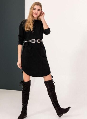 a51fd4d2f83c The Fashion Project Midi φόρεμα με σχέδιο κουμπιά στην πλάτη - Μαύρο - 010