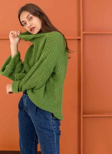 f5f97b0db0d The Fashion Project Oversize πλεκτό με ζιβάγκο - Πράσινο - 001 ...