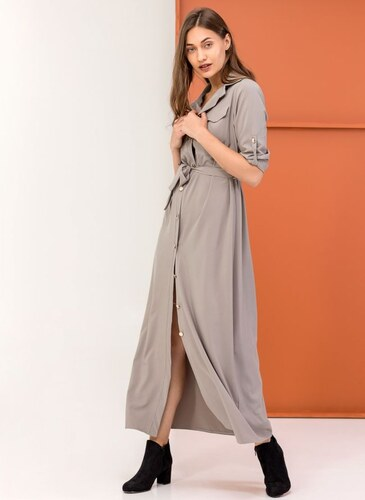 2ff1ca9ab85e The Fashion Project Maxi φόρεμα πουκάμισο - Γκρί - 05727027001 ...