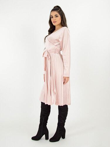 3e6d71d0b30e style Κρουαζέ φόρεμα βελουτέ με πλισέ φούστα και ζώνη ροζ - Glami.gr