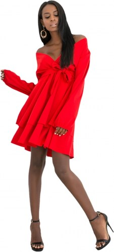 9e5a1dcb86cf DeCoro F2588 Φόρεμα Κρουαζέ με Βολάν στο Τελείωμα - ΚΟΚΚΙΝΟ - 10 ...