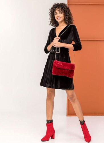 d2c7a0ca3226 The Fashion Project Κρουαζέ βελουτέ φόρεμα με φαρδυά ζώνη - Μαύρο - 001