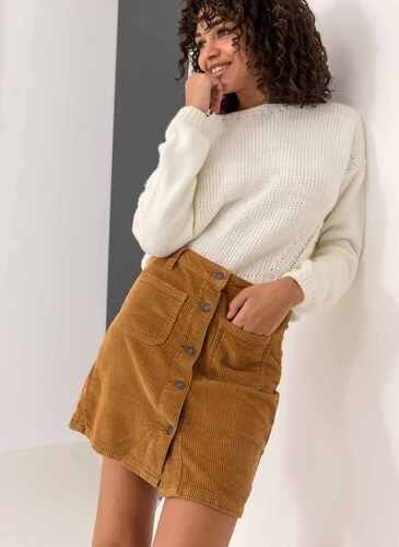 -50% The Fashion Project Κοτλέ mini φούστα με κουμπιά - Μουσταρδί -  06110056003 3155111d332