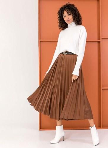 The Fashion Project Σατέν πλισέ midi φούστα - Καφέ - 06105036001 ... c0301f51424