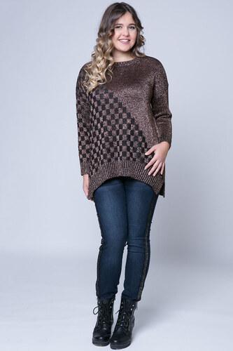 Happysizes Πλεκτή lurex μπλούζα με σκακιέρα σε bronze χρώμα - Glami.gr c87163159b9