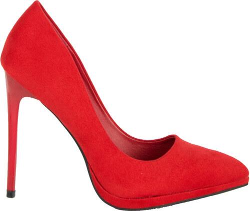 705fecf574c Huxley & Grace Γυναικείες κόκκινες σουέντ γόβες ψηλοτάκουνες 1182 ...